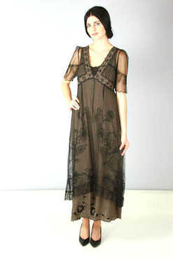 NATAYA Victorian Charm BLACK/Cocoa Embroidered Dress 40007- 1X, 2X, or 3X