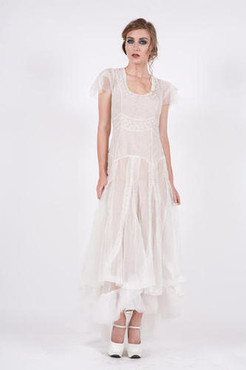 NATAYA Ivory LADY of the FOREST Embroidered Mesh Gown- S, M, L,