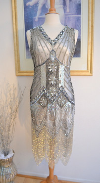 1920s GATSBY Starlight Silver BEADED Flapper Dress-S,M,L,XL, or Plus Sizes