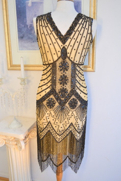 1920s Style GATSBY Nude Black Starlight BEADED Flapper Dress-S,M,L,XL or Plus Sizes