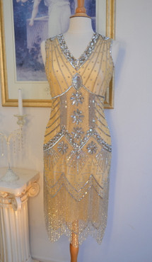 1920s Style GATSBY Nude Silver Starlight BEADED Flapper Dress-S,M,L,XL or Plus Sizes