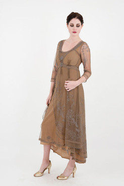 DOWNTON ABBEY-Nataya-Anique Silver Embroidered VICTORIAN Dress-S,M,L,or XL