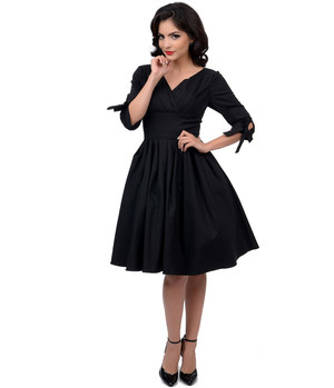 1950s Style Black Diana Swing Dress-XS, S,M,L,XL or Plus Sizes up to 4X