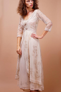 Copy of Nataya DOWNTON ABBEY Pearl Embroidered Dress-1X, 2X or 3X