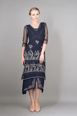 Nataya TITANIC Sapphire Embroidered Dress- 1X, 2X or 3X