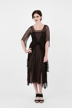 1920's Style VINTAGE ROSE Black/Cocoa Chiffon Dress-1X or 2X