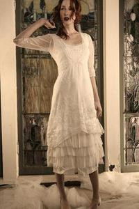 NATAYA Ivory Embroidered VICTORIAN TEA Dress-S, M, L or XL