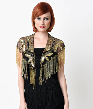 1920s Black and Gold Capelet Embroidered Shawl