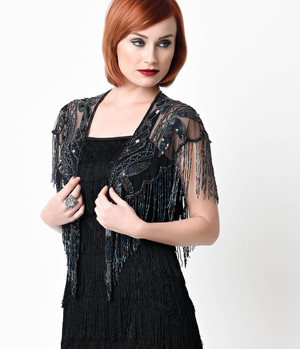 1920s Black Iridescent Beaded Mesh Wrap- one Size