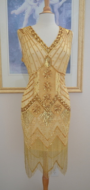 1920s Style Gold Beaded STARLIGHT Dress- S, M, L, XL or Plus sizes