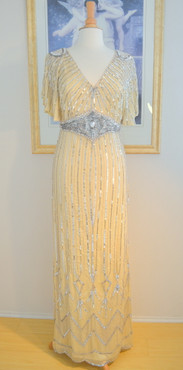 1930's Style Champagne Silver Beaded Moonlight Gown- S, M, L, XL or Plus sizes