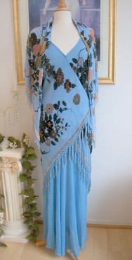 1930's Style Sky Blue Silk Velvet Gown and Wrap- S, M or L