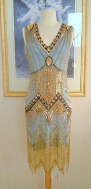 1920s Style Turquoise Gold Beaded Starlight Dress- S, M, L, XL or Plus Sizes