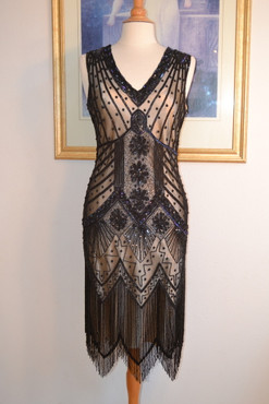 IN STOCK! 1920s Style Gatsby Black Iridescent Beaded STARLIGHT Dress-MEDIUM