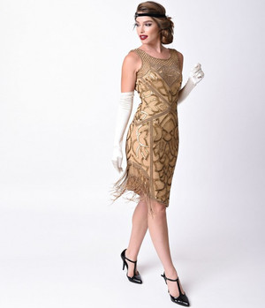 1920s Style Gatsby Antique Gold Beaded Flapper Dress- Plus 2X, 3X or 4X