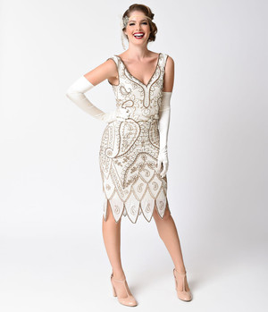1920s Style Ivory Gold Beaded Flapper Dress- XS, S, M, L, or XL