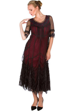 Nataya Wine Black Gothic Style Mesh Dress- S, M, L, XL