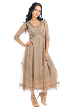 Nataya VINTAGE ROMANCE Beige Embroidered Mesh Dress- S, M, L, or XL
