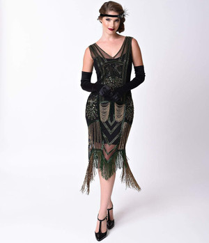 1920s Gatsby JAZZY Green Black Beaded Flapper Dress- Xs, S, M, L, or XL