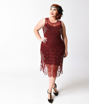 1920s Style Burgandy Beaded Mesh VAMP Flapper Dress- 2X, 3X or 4X