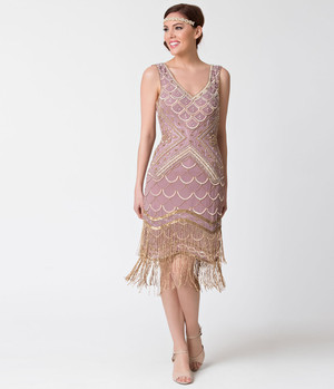1920s Style Lavender Gold Beaded Flapper Dress- Xs, S, M, L or XL