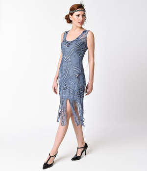 1920s Style Periwinkle Blue Charleston Flapper Dress- Xs, S, M, L or XL