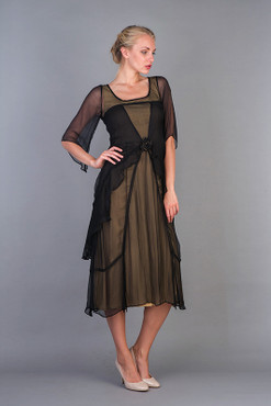 1920's Style VINTAGE ROSE Black/Cocoa Chiffon Dress-S