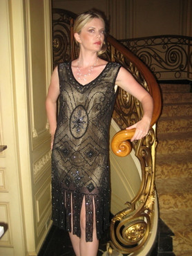 1920's Style GREAT GATSBY Black/Silver Nude BEADED FLAPPER Dress-S to XL or Plus