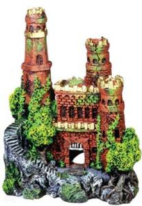 Blue Ribbon Exotic Environments Medieval Castle With Gold Tops 3.5x2.5x4in {bin-2}