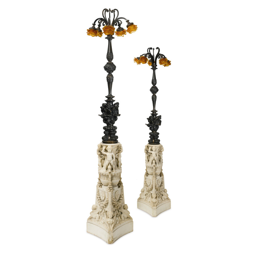 renaissance carved marble and patinated bronze floor lamps by caldwell. Black Bedroom Furniture Sets. Home Design Ideas