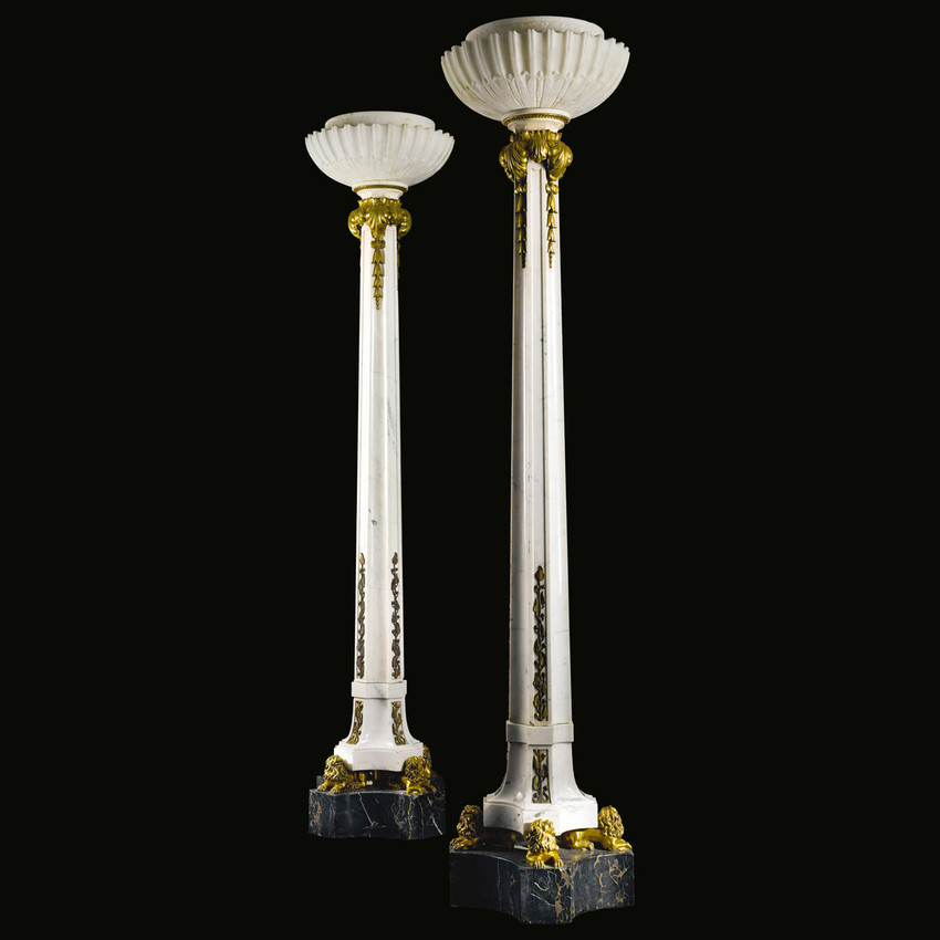 marble and alabaster floor lamps by sterling bronze co new york. Black Bedroom Furniture Sets. Home Design Ideas