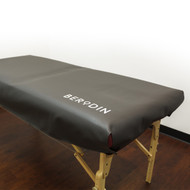 No more sticky, sweaty bodies stuck to table paper! Durable vinyl allows for easy cleanup with Wax Off Equipment Cleaner and wet sanitizing solution. Adjustable Velcro closures fit most facial beds and massage tables. Use on top of beds made with sheets and blankets for quick transitions between facial and waxing services.  Fits standard massage tables.