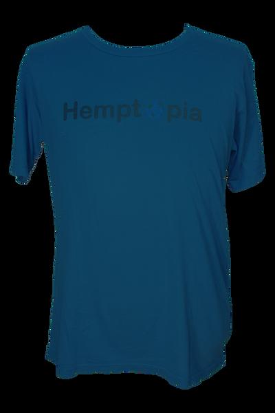 Hemptopia World Logo Hemp T-Shirt - Blue