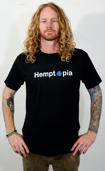 Hemptopia World Logo Hemp T-Shirt - Black