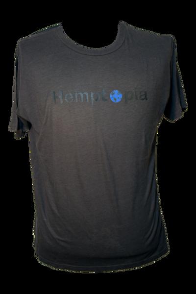Hemptopia World Logo Hemp T-Shirt - Gun Metal