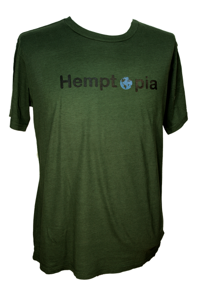 Hemptopia World Logo Hemp T-Shirt - Green