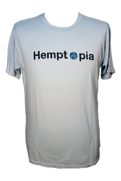 Hemptopia World Logo Hemp T-Shirt - Light Blue
