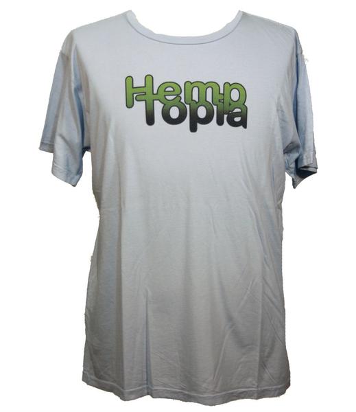 Hemptopia Hemp T-shirt - Gradient Logo - Light Blue