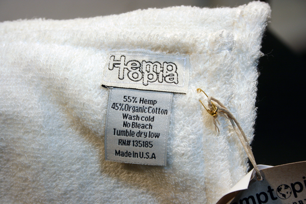 Hemptopia towel label