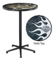 Harley-Davidson® Metallic Flaming Bar & Shield Cafe Table, Handmade HDL-12308
