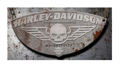 Harley-Davidson® Beach Towel, Winged Willie G Skull Rusty Plate, 30x60 inch 12368