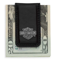Harley-Davidson® Men's Bar & Shield Logo Money Clip, Black Leather 99452-06V