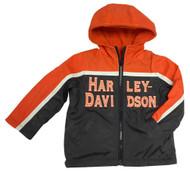 Harley-Davidson® Little Boys' Embroidered Reversible Orange Fleece Jacket 6084549 - D