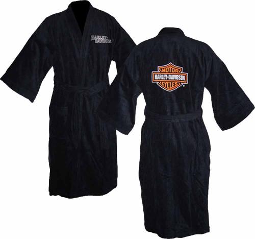 Harley Davidson Unisex Black Kimono Robe Bathrobe 87158 - A
