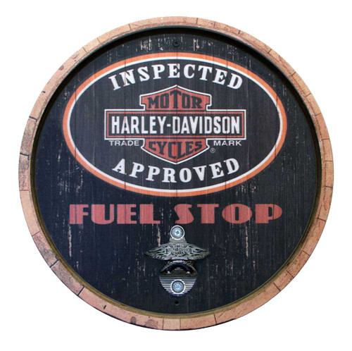Harley-Davidson® 15 In Round Fuel Stop Bottle Opener Wooden Sign CU118B-BO-CCGPX6