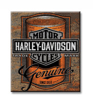 Harley-Davidson® Tin Sign, Oil Can Bar & Shield Rustic Sign, Brown 2010931
