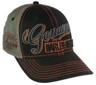 Harley-Davidson® Mens Genuine Script Baseball Cap Stretch Fit Black/Gray BCC01180 - A