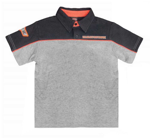 Harley-Davidson® Big Boys' Colorblocked Interlock Polo Tee, Gray/Black 1091686 - A