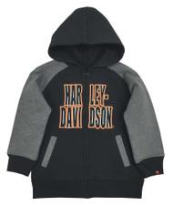 Harley-Davidson® Little Boys' Embroidered Fleece Zip Hoodie, Black/Gray 6570563 - A