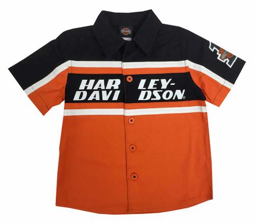 Harley-Davidson® Big Boys' Button Front Twill Shop Shirt Orange/Black 1092527 - A